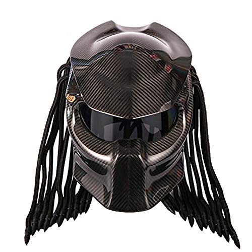 CAJUXIN Black Carbon Fiber Predator Motorcycle Helmet, Anti-UV Anti-Fog Mask Tassel Scorpion Off-Road Motorcycle Locomotive Full Face Helmet DOT -