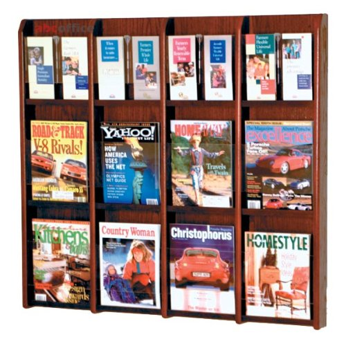 Wooden Mallet LM-16 Divulge Oak & Acrylic Wall-Mounted Magazine & Brochure Rack (12 to 24 Pockets) in Dark Red Mahogany