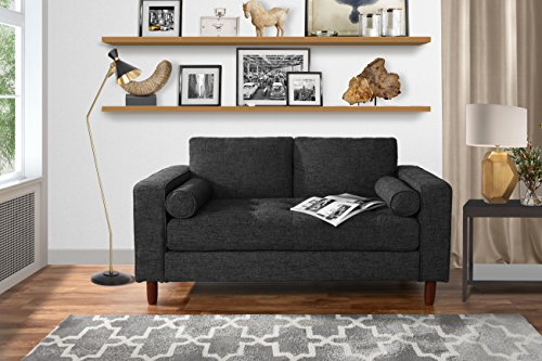 Modern Sofa Loveseat with Tufted Linen Fabric - Living Room Couch (Dark Grey) ()