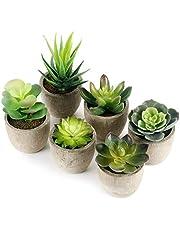 GoMaihe Plante Artificielle Interieur, Faux Vertes Grasses avec Pot Gris