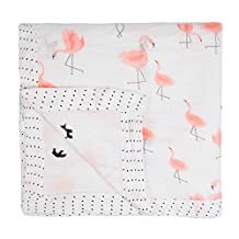 Miracle Baby Bamboo Swaddle Blankets Muslin Cotton Large Swaddle Wrap Shower Gift Double Layers Stroller Cover Receiving Blankets 47''x 47''(Flamingo)