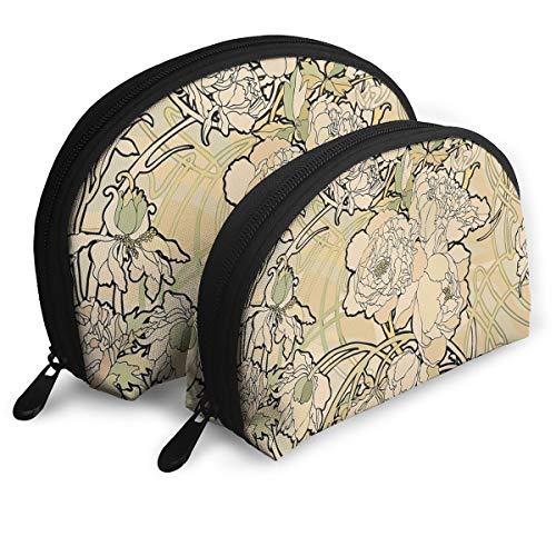 Art Nouveau Flowers Cosmetic Bag - 2 Piece Set Makeup Travel Pencil Pen Case Storage Portable (Nouveau Back Zip)