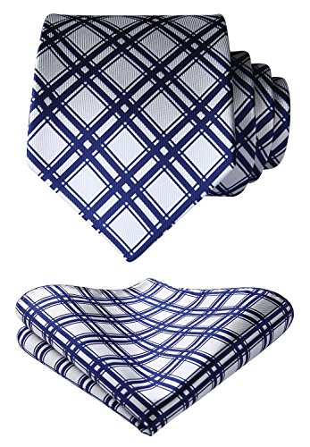 - HISDERN Men's Geometric Lattice Tie Handkerchief Wedding Party Necktie & Pocket Square Set Navy Blue & White