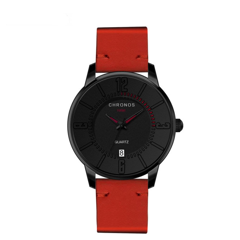 Zaidern Men Watches,Men's Watch Luxury Casual Analog Quartz Wristwatches Retro Simple Design Business Dress Waterproof Leather Band Round Glass Mirror Circular Dial Wrist Watches Alloy Case Calendar