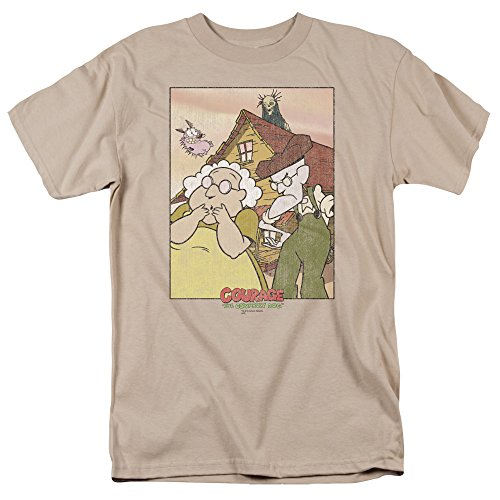 Trevco Men's Courage The Cowardly Dog Short Sleeve T-Shirt, Sand, X-Large