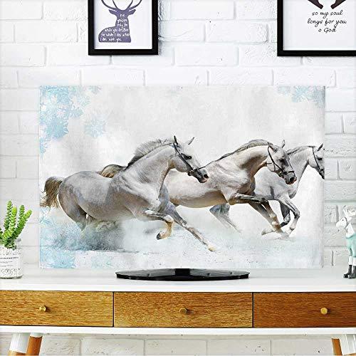 (PRUNUS tv Protective Cover Trio of Horses in Snow tv Protective Cover W25 x H45 INCH/TV 47