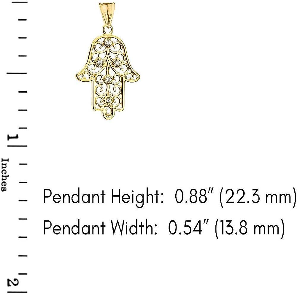 CaliRoseJewelry 14k Gold Hamsa Hand Cubic Zirconia Charm Pendant Necklace