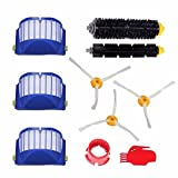 ANBOO Accessory for Irobot Roomba 650 500 600 610 620 Series Vacuum Cleaner Replacement Part Kit - 3 Pack Filter, Side Brush, 1 Pack Bristle Brush and Flexible Beater Brush, 1 Pack Cleaning Tool