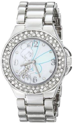 Disney Women's TK2031 Tinkerbell Mother-of-Pearl Dial Silver-Tone Bracelet Watch ()