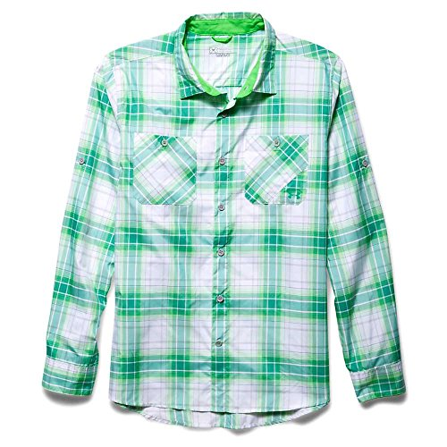 Under Armour Mens Ua Chesapeake 2 Long Sleeve Plaid Green Energy Lg
