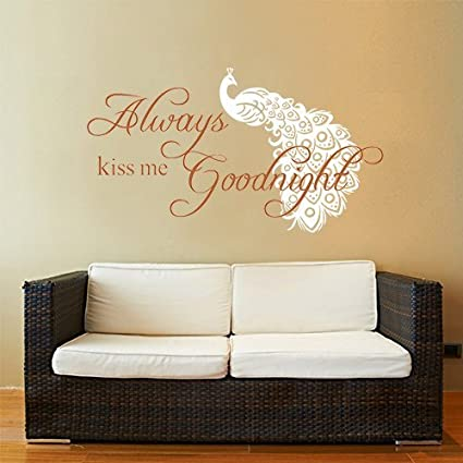Amazon Com Higoss Love Quotes Wall Decals Always Kiss Me Goodnight