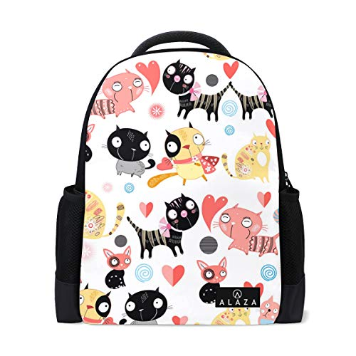 Beautiful Cat Collar Backpack Lightweight School Backpack, Classic Basic Casual Backpack, Travel with Bottle Side - Casual Canine Hoodie Backpack
