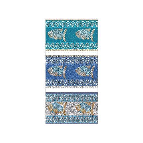 - Decorative Privacy Window Film/Ancient Style Byzantine Ceramics Inspired Marine Fractal Fish Pattern Artwork/No-Glue Self Static Cling for Home Bedroom Bathroom Kitchen Office Decor Slate Blue