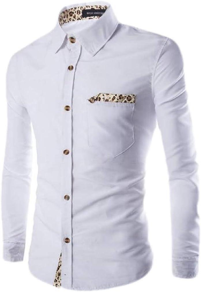 Sweatwater Mens Lapel Neck Autumn Pocket Curved Hem Button Down Shirts