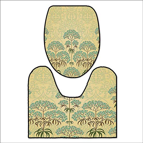 U-shaped Double Bowl - qianhehome U-Shaped Toilet Mat Victorian Floral with Double Exposure Royal Background Washable Non-Slip L19 x W15.5-W12.5 x H17