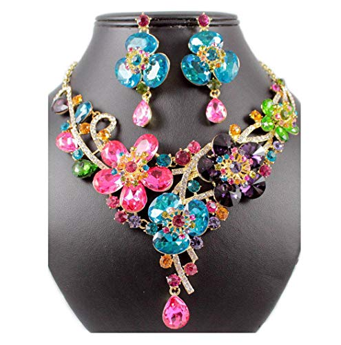 Crystal Austrian Simulate - Janefashions Daisy Multi-Color Colorful Austrian Rhinestone Crystal BIB Statement Necklace Earrings Jewelry Set Bridal Wedding Party Prom N1706M