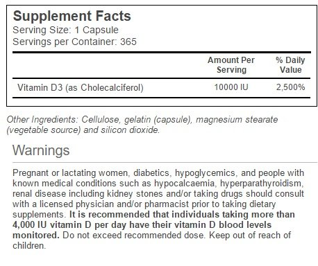 Amazon.com: Vitacost Vitamin D3 (as Cholecalciferol) -- 10000 IU - 365  Capsules: Health & Personal Care
