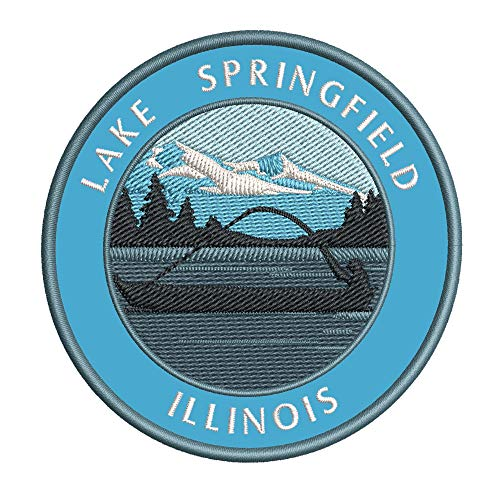 Bass Fishing Lake Springfield Illinois Vinyl Embroidered DIY Iron or Sew-on Decorative Patch Badge Appliques ~ Lake Life Outdoor Series