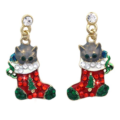 t Christmas Stocking Charm Dangle Post Earrings Jewelry (Kitty Charm Earrings)