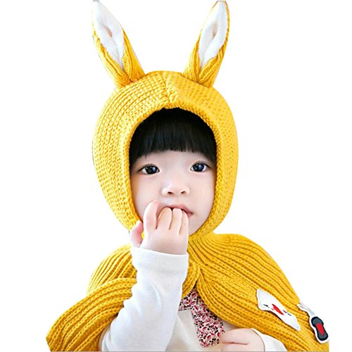 ELFJOY Lovely Rabbit Ears Knitted Hat with Shawl Alice in Wonderland Soft Winter Cap -