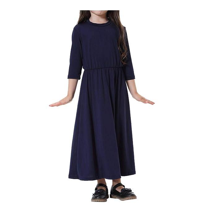Hzjundasi musulmán islámico árabe Chicas Iglesia Plegaria Maxi Vestido - Longitud Completa Manga de Siete Cuartos