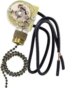 Ceiling Fan Light Switch Zing Ear Pull Chain Switch ZE-109 Fan Light Switch, On-Off Speed with Pull Chain Compatible with Ceiling Light Fans, Lamps and Wall Lights.(Bronze)