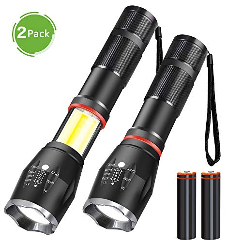 Magnetic Flashlight,LED Tactical Cob Flashlight(Battery Included),High Lumen T6 Flashlight Cob Work Light,Waterproof ,6 Modes Zoom Handheld LED Flashlight Lantern for Camping,Emergency,2Pack