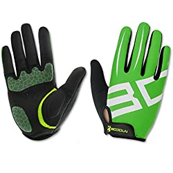 Anser 2240033 Outdoor Cycling Full Finger Gloves Bike Bicycle Gloves Breathable Anti-slip Reflective for Autumn Winter (Green White, L)