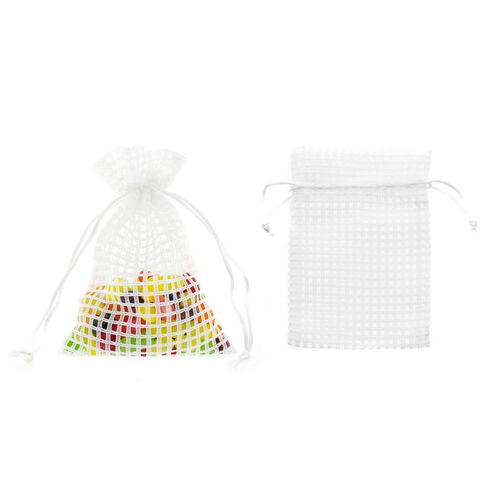 """Linen and Bags 4"""" x 6"""" Soft Cotton Mesh Drawstring Party Favor Bags and Craft Pouches 24 Pack (White)"""