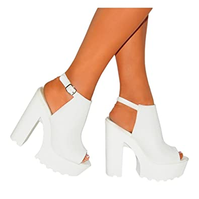 13fd06d37c8419 Style Sketch Book Ladies Womens White Cleated Platforms Chunky High Heels  Strappy Sandals Sling Backs Shoes