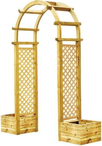 Pergola con macetas de madera nordico 196 x 50 x 255 Muebles ...