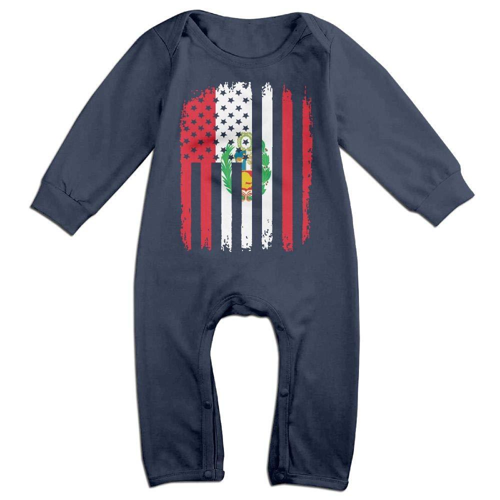 Mri-le1 Baby Boy Girl Bodysuits Peru American Flag Baby Rompers