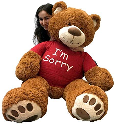(Big Plush 5 Foot Giant Teddy Bear Wearing I'm Sorry T-Shirt 60 Inch Soft Cinnamon Brown Color Huge Teddybear to Make an Apology )