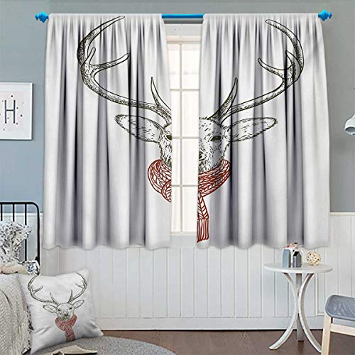 Chaneyhouse Antlers Thermal Insulating Blackout Curtain Illustration of a Deer Wearing Scarf Knitted Neck Wintertime Cold December Patterned Drape for Glass Door 63