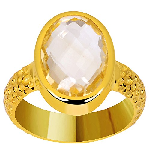 Citrine 9k Gold Over Sterling Silver Textured Ring (14X10MM Checkerboard Oval) (9ct Gold Setting)