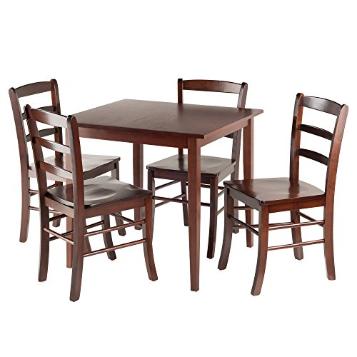 (Winsome 94532 Groveland Square Dining Table, 4 Chairs, Antique Walnut)