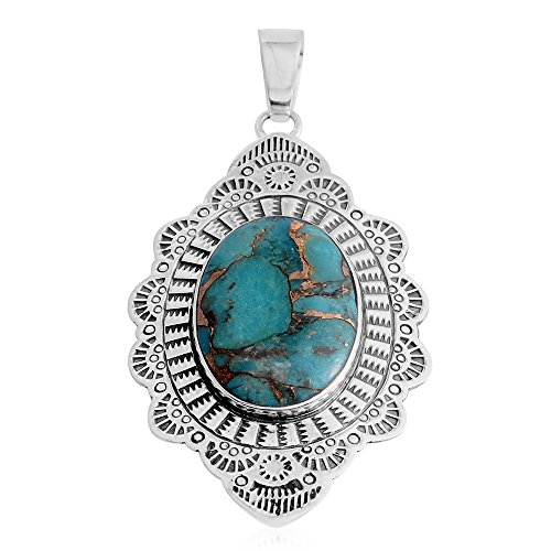 Santa Fe Style Blue Turquoise Sterling Silver Pendant without Chain (Santa Fe Turquoise Necklace)