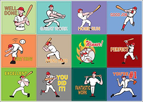 Creanoso Inspiring Positive Motivational Baseball Sports Stickers - 10 Sheets – Words of Encouragement Sticky Wall Decal for Boys, Girls, Kids, Teens, Friends – Great Collection Pack