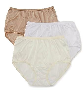 b90581264 Shadowline Nylon Modern Brief Panty - 3 Pack (17642pk) at Amazon Women s  Clothing store