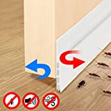 Fixget Door Seal, Under Door Sweep Door Draft Stopper Weather Stripping Door Bottom Seal Rubber Weatherproof Seal + Window Seal for Cracks & Gaps, 2 Width X 35.8 Length Inch, 2 Seals (B)