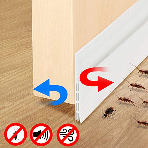 Fixget Door Seal, Under Door Sweep Weather Stripping Door Draft Stopper Door Bottom Seal Rubber Weatherproof Seal + Window Seal for Cracks & Gaps, 1.96 X 39.4 Inch, 2 Seals