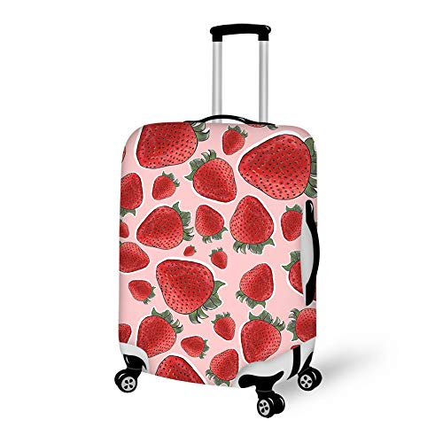 Travel Luggage Protector, High Elasticity Zipper Luggage Suitcase Cover, Dustproof Removing-Free Baggage Protector bag - Fits 18-28 Inch Luggage (Strawberry Fruit)