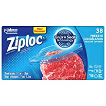 Ziploc Freezer Bags with Double Zipper Seal with Easy Open Tabs - Medium - 38 Count