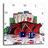 3dRose dpp_155012_3 Casino Concept with Poker Cards Chips Dice & Slot Style Sevens Wall Clock, 15 by 15''