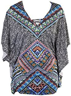 Bar III Printed Tunic Coverup, Only at Macys Womens Swimsuit, Cadet Blue, Medium