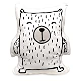 Lolli Living Soft Printed Bear Cushion (Kayden Woodlands Collection). Machine Washable Decorative Bear Pillow.