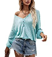 ROYLAMP Women's Fall Sweaters Long Sleeve Button Off The Shoulder Oversized Knitted Pullover Swea...