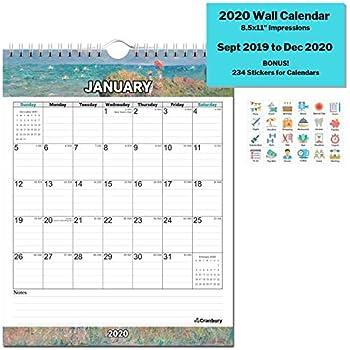 Amazon.com: Calendario de pared de 2020, con pegatinas ...