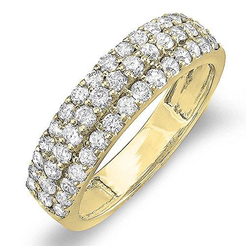 1.00 Carat ( ctw) 14K Yellow Gold Round Diamond Ladies Anniversary Wedding Band Ring 1 CT (Size 7)