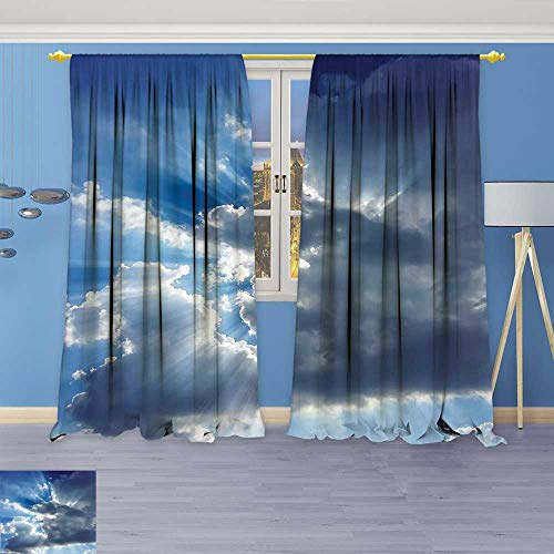 Lab Shine Star Collection (Philiphome Kitchen Decor Collection,Sunshine Sun Rays Breaking Through Huge Dark Clouds View Artful Picture Gray Blue,Window Treatments for Kitchen Curtains 2 Panels)